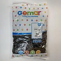 """Воздушные шары Gemar черный металлик 10""""(26 см) 100 шт, фото 1"""
