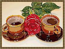 Вишивка бісером, Канва квіти натюрморт троянда Кава на двох