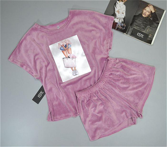 Пижама женская Este теплая с рисунком розовая .