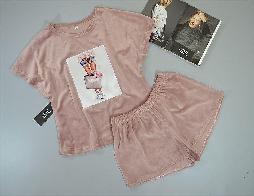Комплект футболка и шорты из микро велюра Este. пижамы женские.