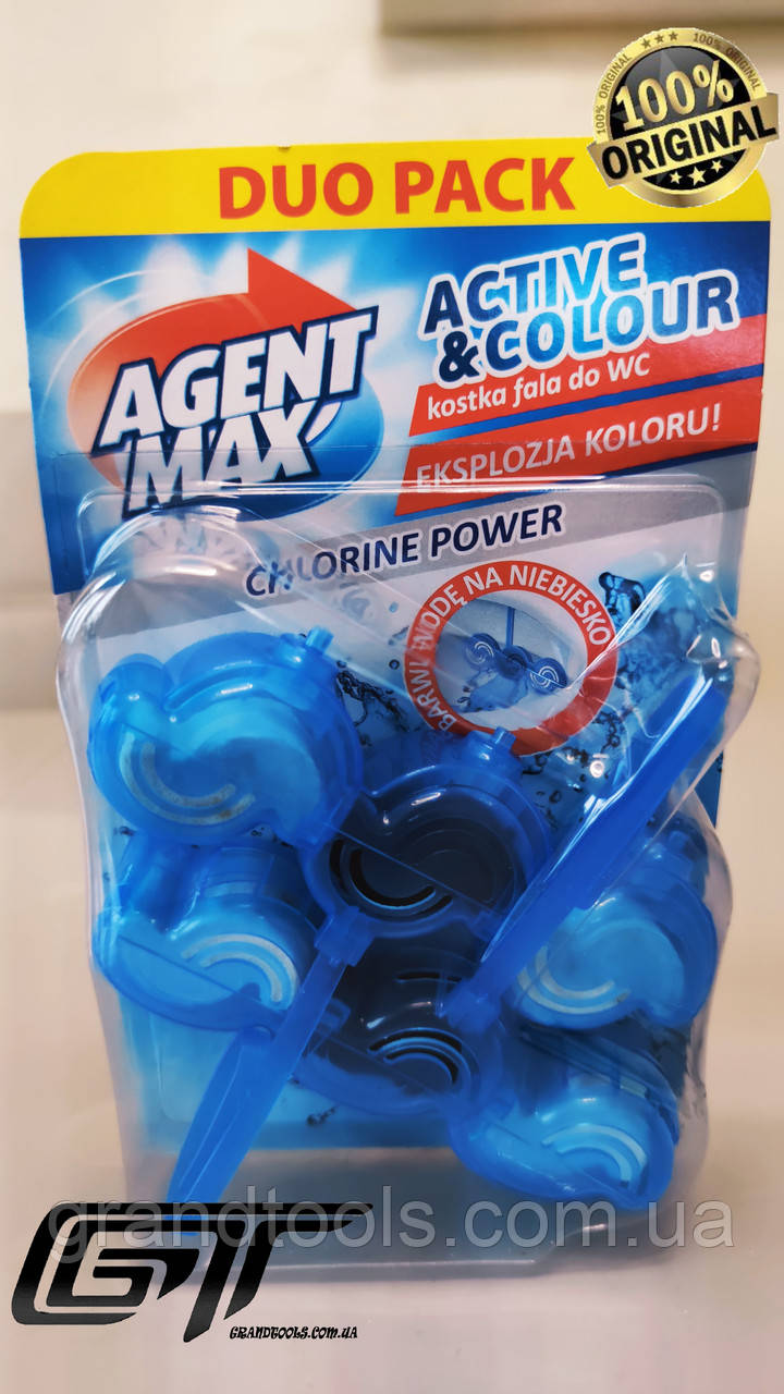 Блок для унитаза Agent Max Chlorine Power  сила хлору  2Х45