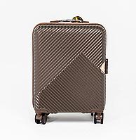 Чемодан пластиковый Wings WN01 маленький - ручная кладь (S, 33 л) на 4 сдвоенных колесах Кофейный (Coffee)