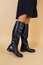 Женские черные кожаные сапоги зима