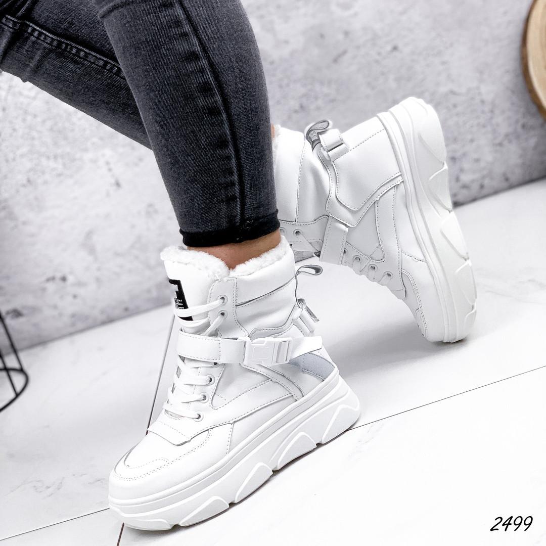 Ботинки белые женские   эко-кожа  эко-замша