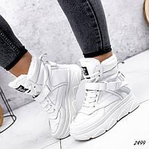 Ботинки белые женские   эко-кожа  эко-замша, фото 3