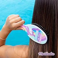 Мечты единорога магическая расческа для волос розовая (голубая, радужная) (20291R), фото 3