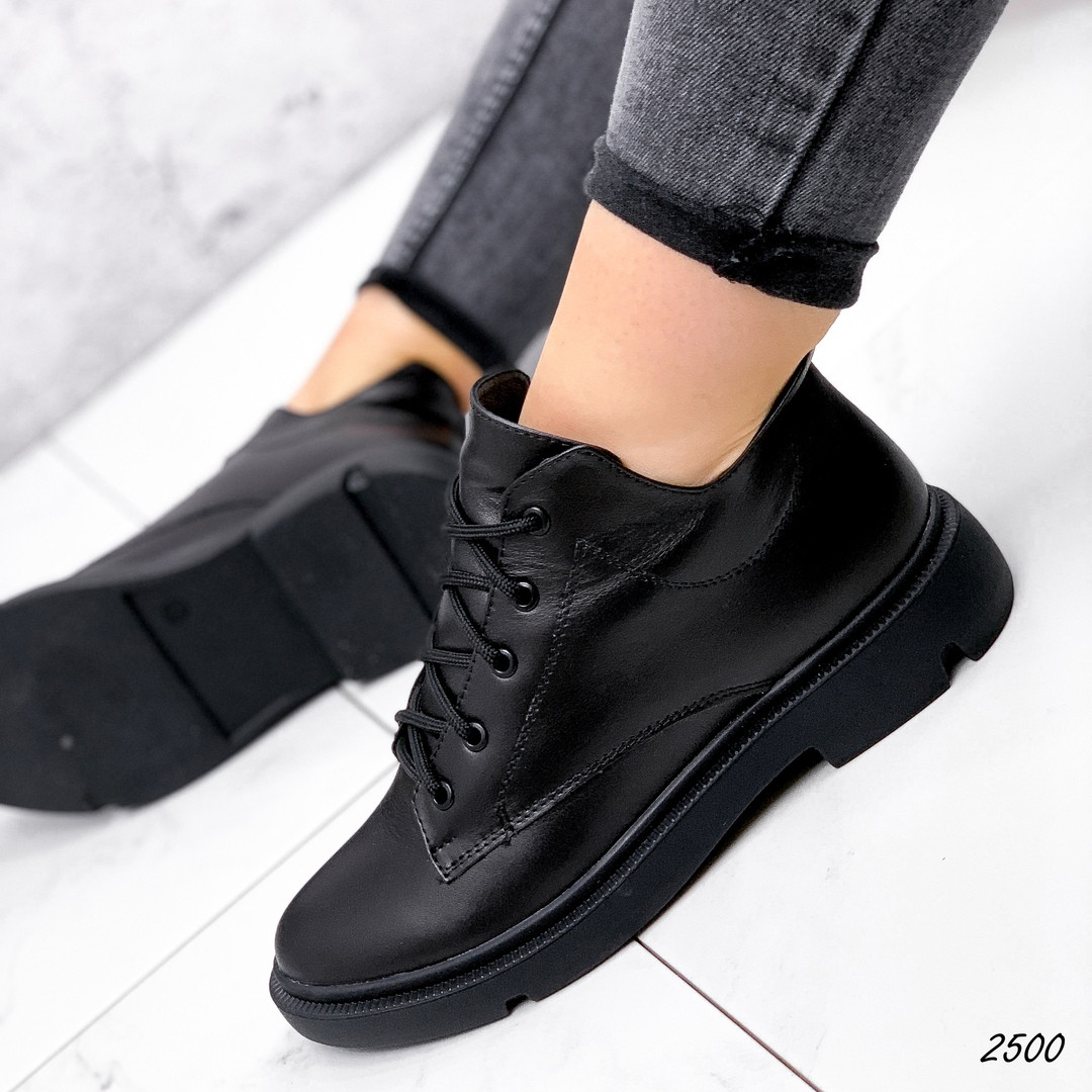 Ботинки  низкие черные кожаные