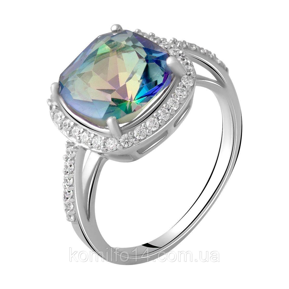 Серебряное кольцо с натуральным мистик топазом