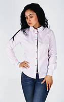 Стильная, удобная женская рубашка приталенного силуэта бледно-розовый