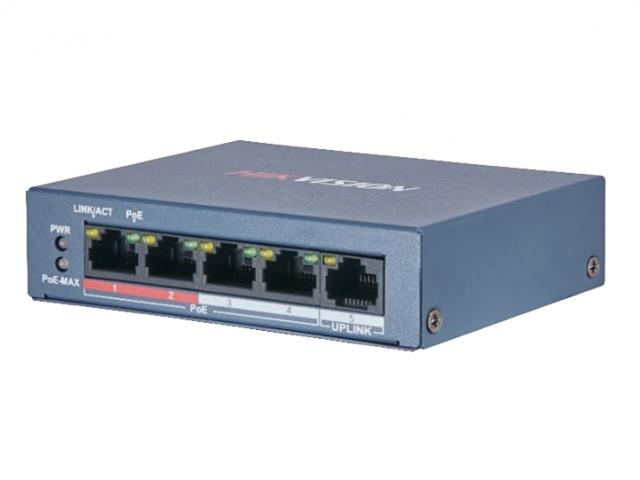 4-портовый POE коммутатор Hikvision DS-3E0105P-E/M(B)