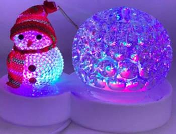 Светильник ночник новогодний, со снеговиком