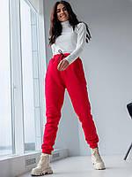 Теплые спортивные штаны красные на резинке M, L, XL