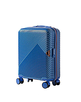 Чемодан пластиковый Wings WN01 маленький - ручная кладь (S, 33 л) на 4 сдвоенных колесах Синий (Middle blue)