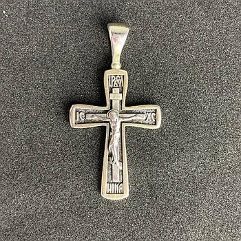Серебряный нательный крест мужской 925 пробы с распятием.Б/У. Серебро из ломбарда