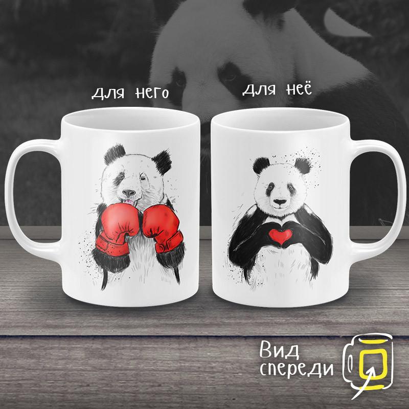 """Парные белые чашки (кружки) с принтом """"Влюбленные Панды"""""""