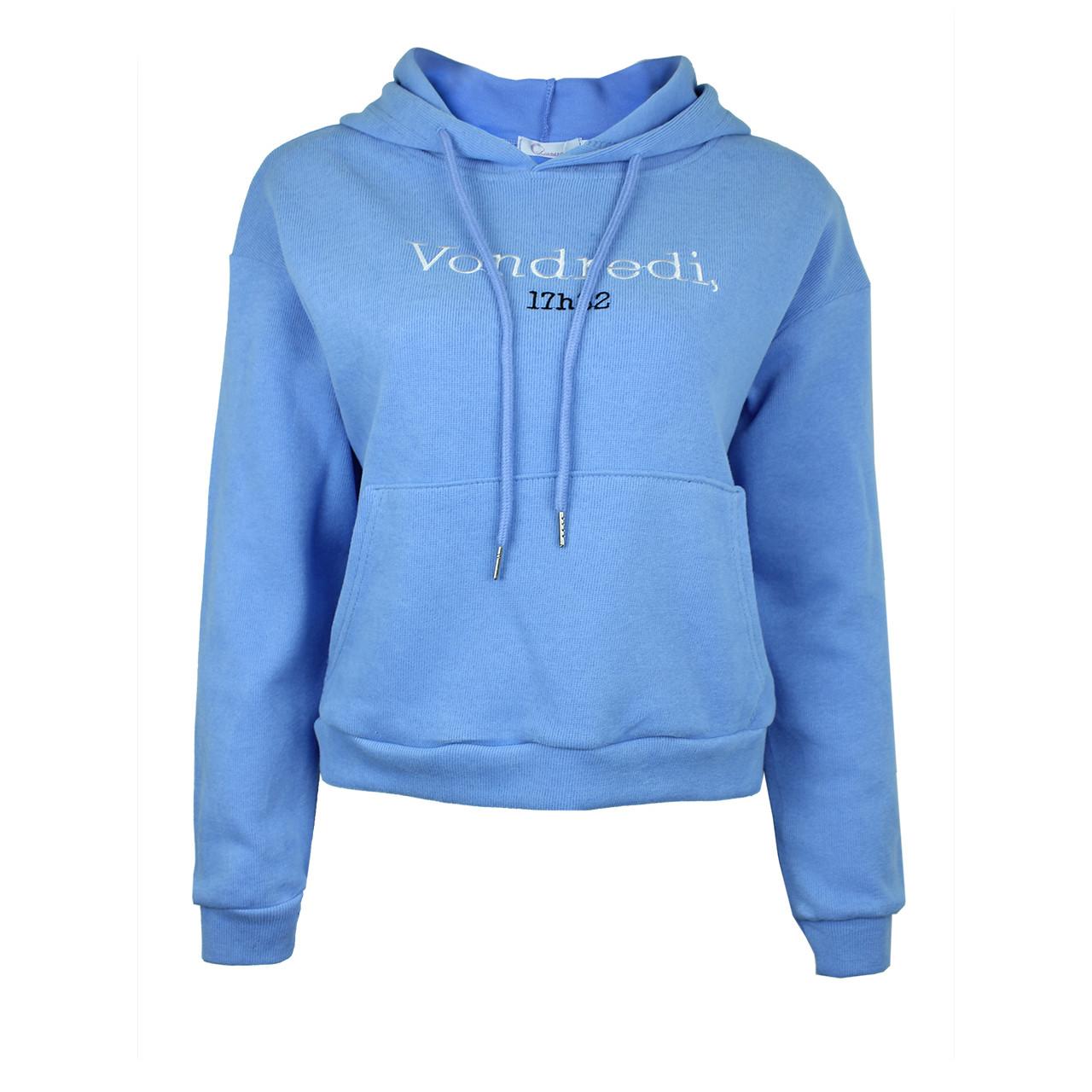 Худі жіноча з капюшоном коротке блакитна Vondredi M-XL