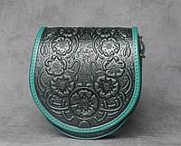 """Кожаная зеленая женская сумка, сумка ручной работы """"Маки"""", сумка через плечо, фото 1"""