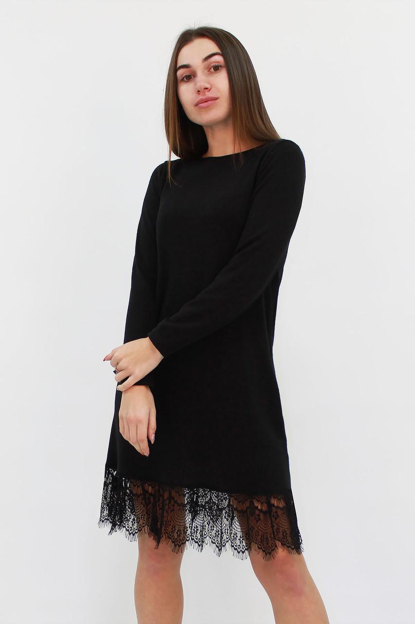 Коктейльное черное платье из ангоры Rachel