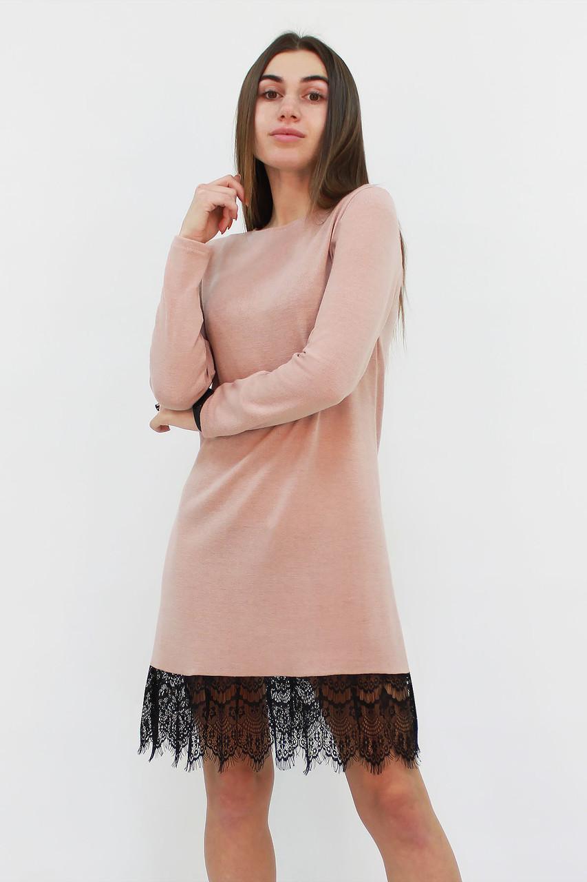 Коктейльное бежевое платье из ангоры Rachel