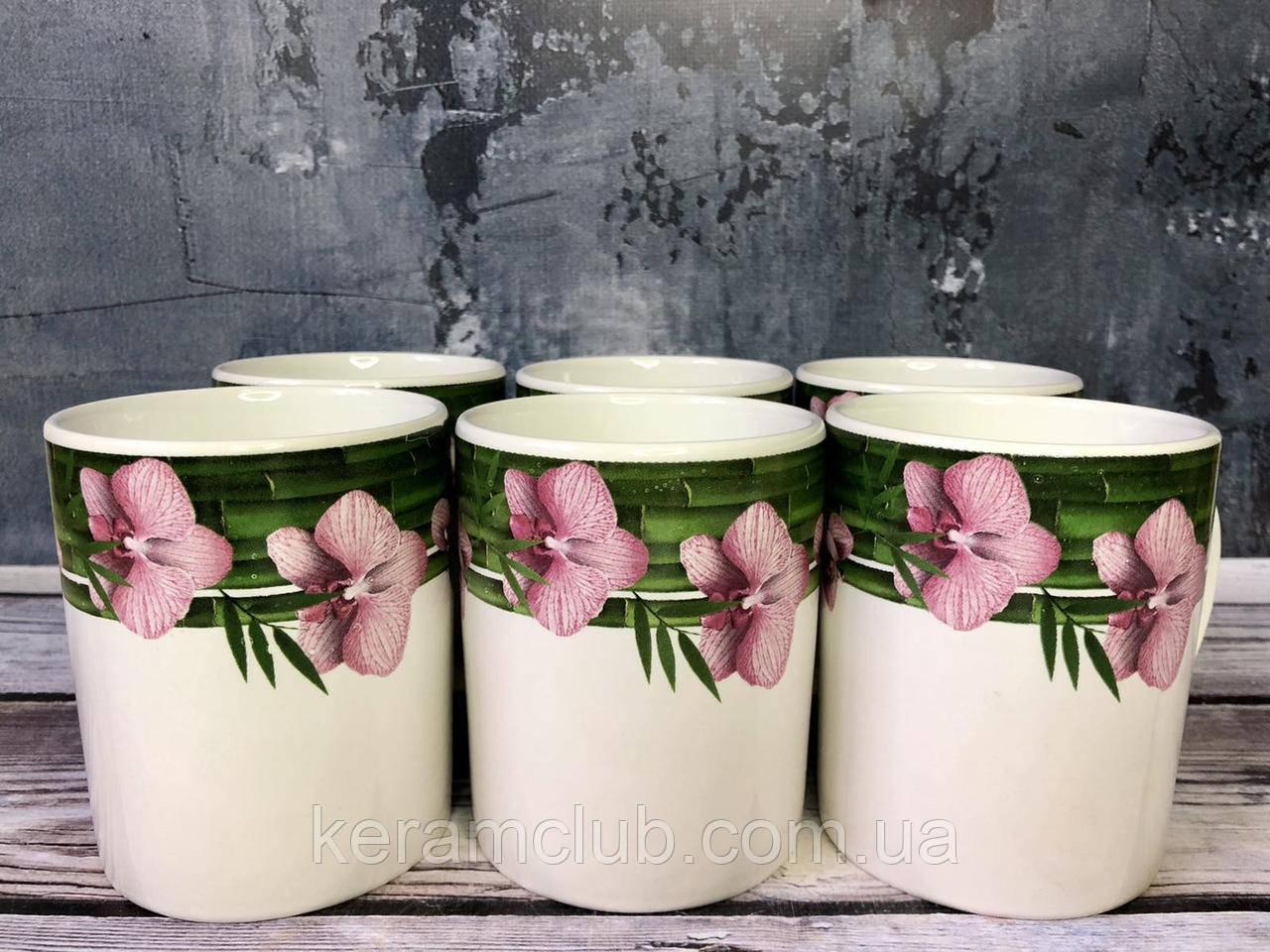 """Набор чашек """"Пурпурная орхидея"""": 6 чашек 350 мл"""
