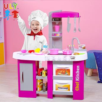 Детская интерактивная кухня Chef Kitchen фиолетовая с посудой 53 предмета на батарейках