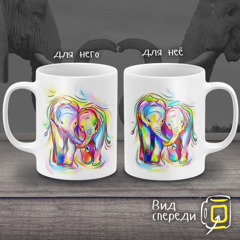 """Парные белые чашки (кружки) с принтом """"Парочка слоников"""""""