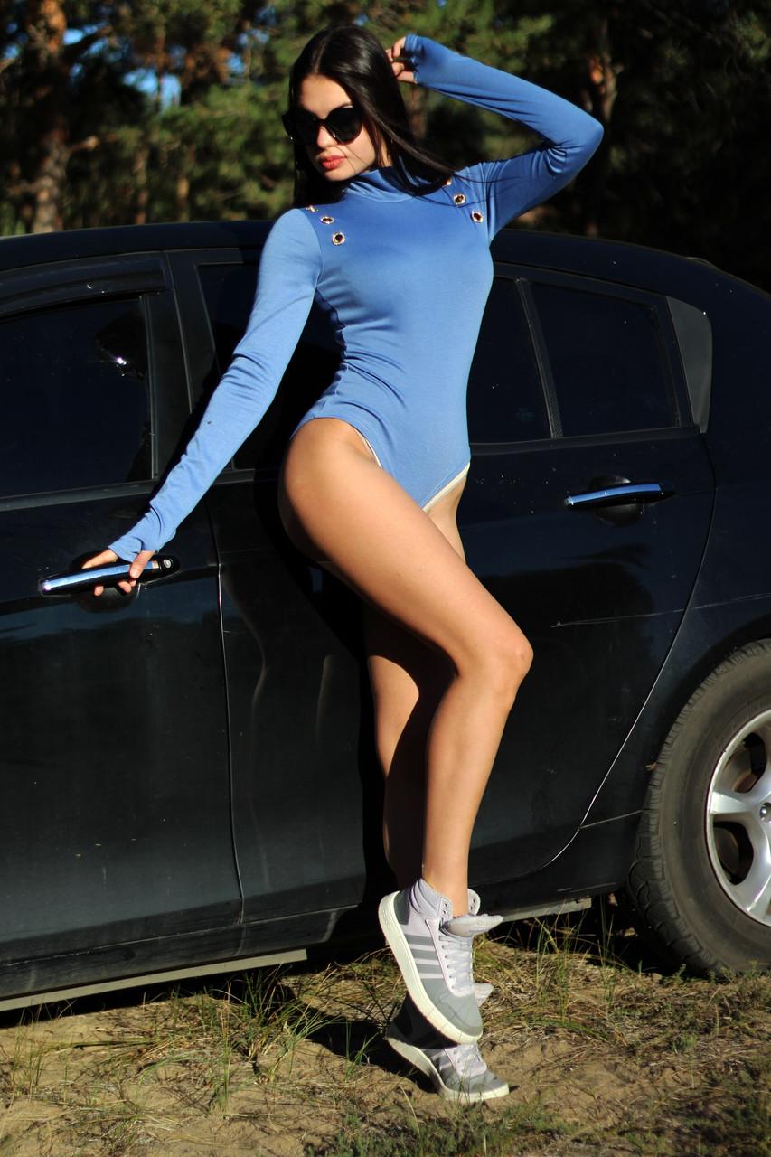 Женский синий боди с люверсами на демисезон