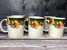 Набор чашек Керамклуб Желтая орхидея 6 чашек 350 мл
