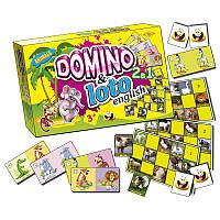 """Детская развивающая настольная игра """" Домино+Лото. Звери"""" MKC0219 на англ. языке"""