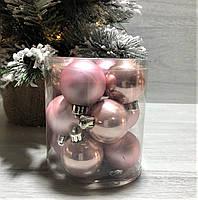 Новорічні ялинкові прикраси набір куль 12шт*4 см, фото 1