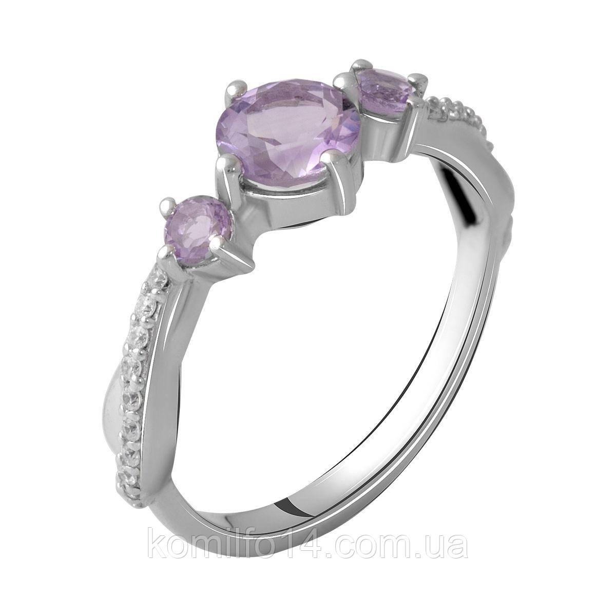 Серебряное кольцо с натуральным аметистом  РОЗ ДЕ ФРАНС (ROSE DE FRANCE)
