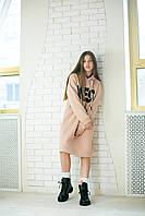 Платье-худи бежевое повседневное на флисе с текстовым принтом на девочку-подростка рост 140-176