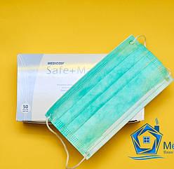 Маска медицинская трехслойная, голубая - упаковка,  50 шт