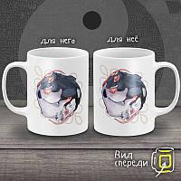 """Парные белые чашки (кружки) с принтом """"Крысы Инь-Янь"""""""