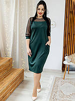 Романтичное изумрудное - зеленое платье с карманами и вставками сетки ХL, 2ХL, 3ХL