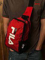 Сумка через плечо фила Fila спортивная мужская слинг красная реплика, фото 1