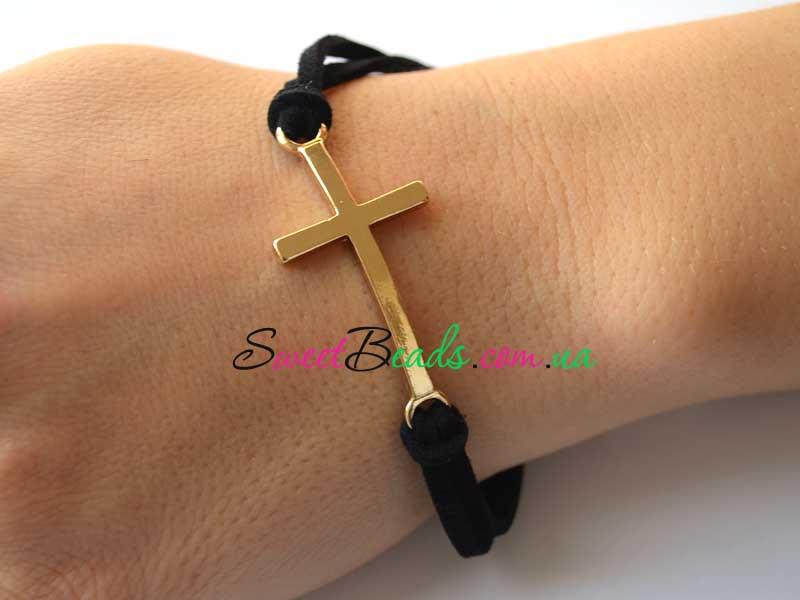 Браслет Крест на шнурке, черный