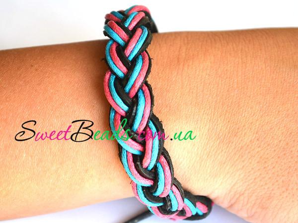 Браслет Шнури косичка, рожево-блакитний