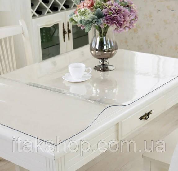 Скатерть Мягкое стекло для стола и мебели Soft Glass (1.1х1.5м) толщина 0.5 мм Прозрачная