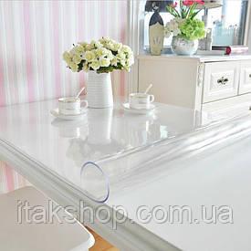 Скатерть Мягкое стекло для стола и мебели Soft Glass (1.3х1.5м) толщина 0.5 мм Прозрачная