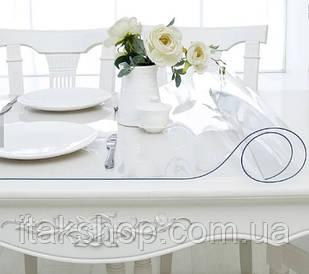Скатерть Мягкое стекло для стола и мебели Soft Glass (1.4х1.5м) толщина 0.5 мм Прозрачная