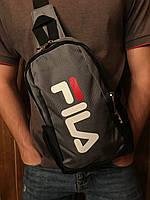 Сумка через плечо фила Fila спортивная мужская слинг серая реплика, фото 1
