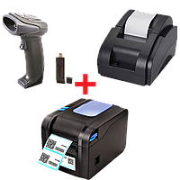 Акционный набор: Принтер чеков XP-58II + Беспроводной сканер Syble-5066R + Принтер этикеток Xprinter XP-370b