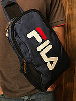 Сумка через плечо фила Fila спортивная мужская слинг синяя реплика, фото 1