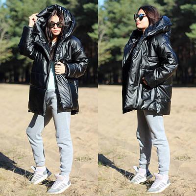 Женская теплая куртка с объемным капюшоном из эко кожи