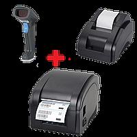 Акционный набор: Принтер чеков XP-58II + Беспроводной сканер Syble-5055R + Принтер этикеток Xprinter XP-360b