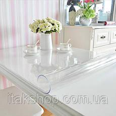 Скатерть Мягкое стекло для стола и мебели Soft Glass (1.6х1.5м) толщина 0.5 мм Прозрачная, фото 2