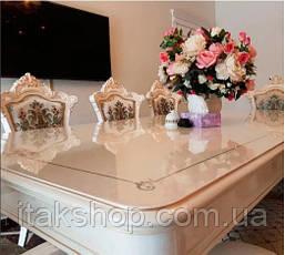 Скатерть Мягкое стекло для стола и мебели Soft Glass (1.6х1.5м) толщина 0.5 мм Прозрачная, фото 3