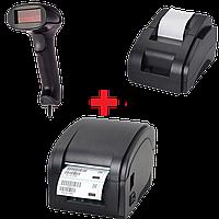 Акционный набор: Принтер чеков XP-58II + Проводной сканер Jp-A1 + Принтер этикеток Xprinter XP-360b