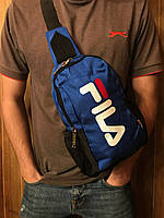 Сумка на плечо фила Fila спортивная мужская слинг синяя реплика, фото 1